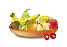 Fruits in a bowl. Illustrated fruits in a bowl on white background Royalty Free Stock Photography