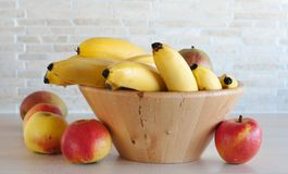 Fruits in the bowl. The horizontal photo of the fruits in the bowl royalty free stock photo