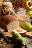 Fruits, bread and jam Stock Images