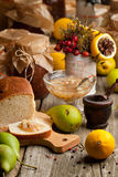 Fruits, bread and jam Royalty Free Stock Photography