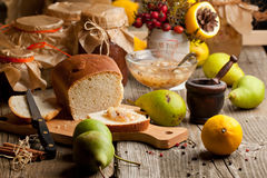 Fruits, bread and jam Stock Photo