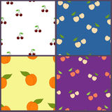 Fruits. Bright fruits on the bright colour background stock illustration