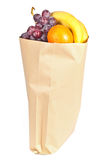 Fruits in brown grocery bag Royalty Free Stock Photos