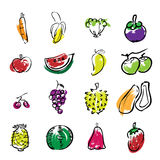 Fruits brush line icons Stock Photography