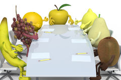 Fruits business meeting. Many fruits meeting around the table and follow their boss, 3d illustration Stock Images
