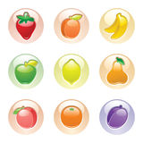 Fruits button gray, web 2.0 icons Royalty Free Stock Photography
