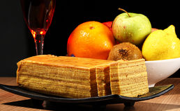 Fruits and cake. Some fruits and cake with drink stock photos