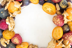 Fruits on cake close up Stock Images