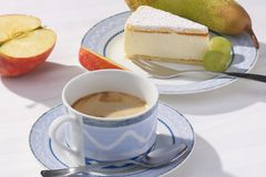 Fruits, cake and coffee Royalty Free Stock Images