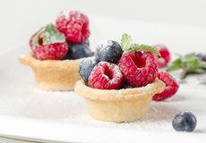 Fruits cake and fresh berries stock image