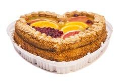 Fruits cake isolated on white Stock Images