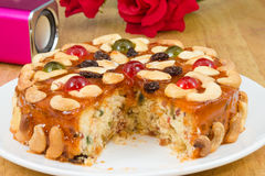 Fruits cake with mix cashew nut and dried fruit.  stock photography