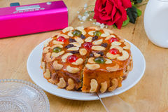 Fruits cake with mix cashew nut and dried fruit Stock Photos