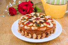 Fruits cake with mix  nut and dried fruit Royalty Free Stock Images