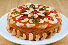 Fruits cake with mix nut and dried fruit Royalty Free Stock Photos
