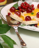 Fruits cakes. Tasty fruits cakes on the white plate Royalty Free Stock Images