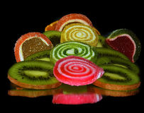 Fruits and candy Stock Image