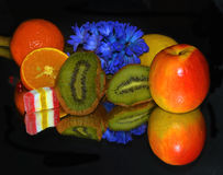 Fruits,candy and flower Royalty Free Stock Photo