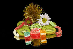 Fruits and candys Stock Photography