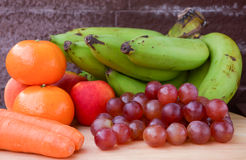 Fruits and carrot in autumn vintage still life Royalty Free Stock Photo