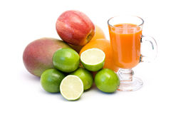 Fruits, carrots and fresh juice Royalty Free Stock Image