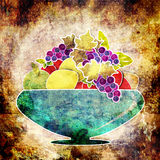 Fruits cartoon background. Vase with fruits. Retro illustration Royalty Free Stock Image