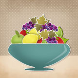 Fruits cartoon retro background. Vase with fruits Royalty Free Stock Image