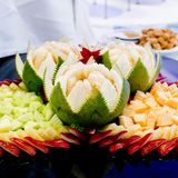 Fruits carved with Thai style, ready to serve. Stock Photos