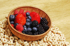 Fruits and cereals. Closeup of forest fruits (blueberries,strawberries, blackberries) with a cereals background Stock Images