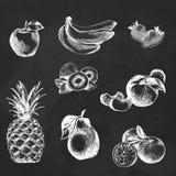 Fruits. Chalkboard background. Royalty Free Stock Photo