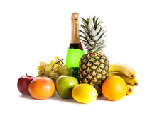 Fruits and champagne Royalty Free Stock Photo