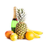 Fruits and champagne Stock Photos