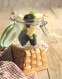 Fruits, cheese and herb skewers Royalty Free Stock Image