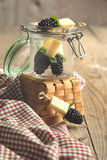 Fruits, cheese and herb skewers Stock Photos