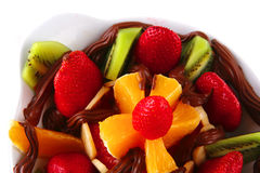 Fruits in chocolate Royalty Free Stock Images
