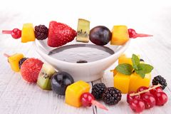Fruits and chocolate sauce Stock Photo