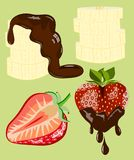 Fruits with chocolate. Strawberry and banana dipped in chocolate royalty free illustration
