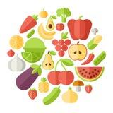 Fruits circle flat vector illustration Stock Photos