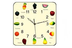 Fruits clock. Fun and educational Stock Photos