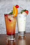 Fruits cocktail and lychee yoghurt Royalty Free Stock Photos