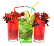 Fruits cocktails with berries and lime Stock Image
