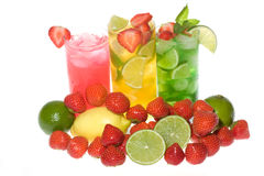 Fruits cocktails with strawberries stock photography