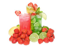 Fruits cocktails with strawberry and mint royalty free stock images