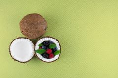 Fruits of coconuts with mix of berries. Stock Photos