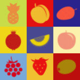 Fruits collection. Fruits icons Royalty Free Stock Image