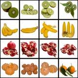 Fruits collection. Kiwi Banana Pomegranate Tangerine White Vitamin Tasty Foodstuff Tropical Fruit Exotic stock images