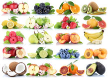Fruits collection orange apple apples banana strawberry isolated Stock Photography