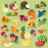 Fruits collection on tags Stock Photo