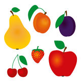 Fruits. Collection of vector fruits - cherry, plum, apricot, strawberry, apple, pear Royalty Free Illustration