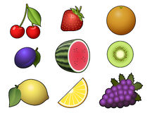 Fruits collection on white background Royalty Free Stock Photo